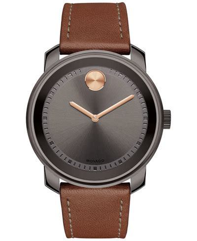 movado s swiss bold cognac leather 43mm