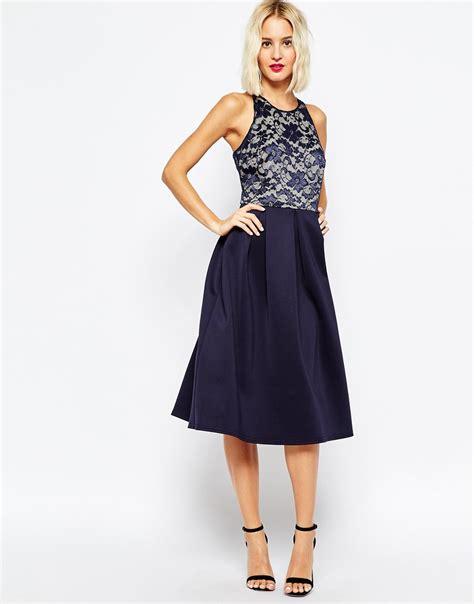 Dress Blue 1 lyst asos lace top skater midi dress in blue