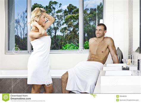 couples in bathroom young couple in bathroom royalty free stock images image
