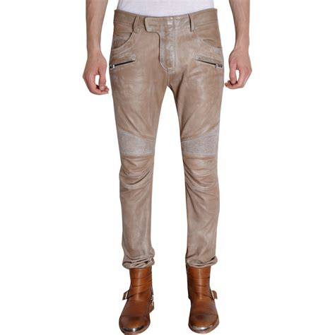 leather motorcycle pants balmain distressed leather biker pants in brown for men
