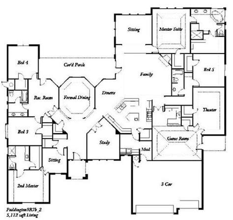 5 bedroom one story house plans new 5 bedroom house floor plan new home plans design