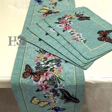 Dining Table Runners And Placemats 7pcs Lot Vine Butterfly Country Style Wedding Bed Table Runner Table Cloth Dining Mat Placemat