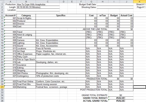Unit 1 Pre Production Budget Sheet Tv Commercial Production Budget Template