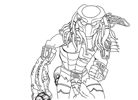 alien vs predator coloring pages predator line art by