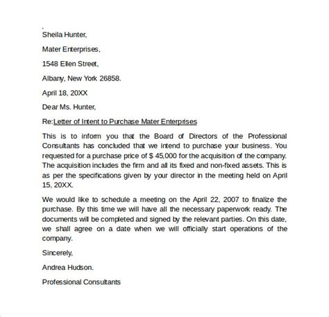 letter intent purchase business