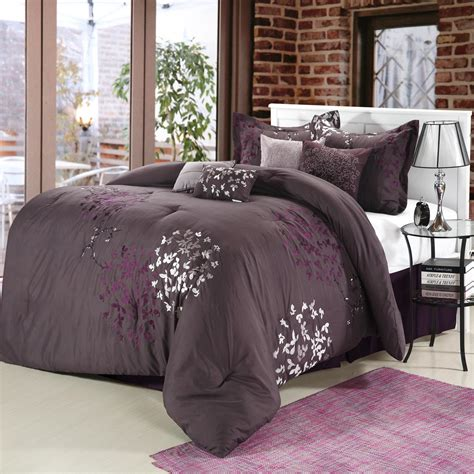 plum bedding sets cheila purple silver plum 8 piece comforter bed in a bag