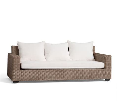 all weather wicker sectional torrey all weather wicker square arm sofa natural
