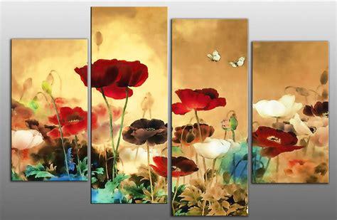 large floral flower split multi canvas picture 4 panel wall 100 cm ebay