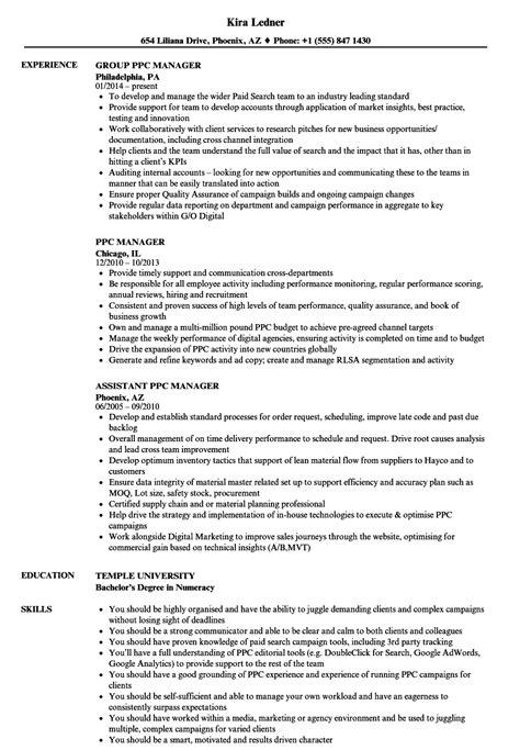 ppc manager resume sles velvet