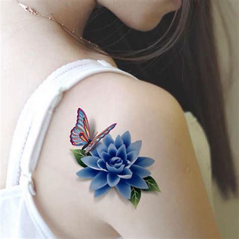 tattoo 3d flower colorful 3d butterfly flower rose tattoo sticker
