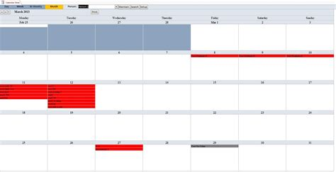 Microsoft Access Calendar Report Template Ms Access Calendar Report Calendar Template 2016