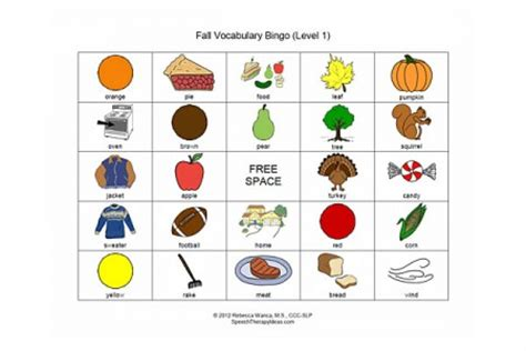 fall vocabulary bingo game – level 1 | speech therapy ideas