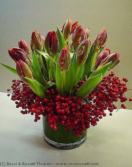 tulips arrangements red parrot tulips berries flower arrangement flower