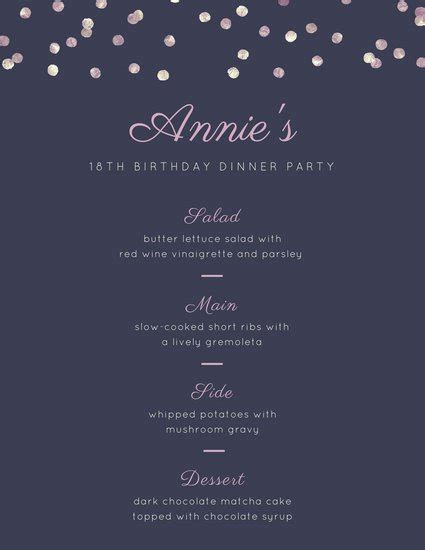 Food Photo Overlay Dinner Party Menu Templates By Canva Birthday Menu Template