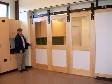 Interior Sliding Barn Door For Home With Glass Windows How To Install Barn Doors Inside