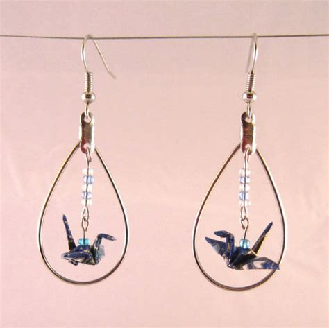 How To Make Origami Crane Earrings - origami crane earrings in dangling hoop useful origami
