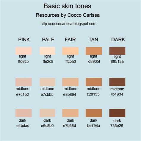 skin color hex code skin colors in hex search color