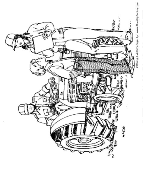 pin farm equipment coloring pages farmer on a lawn tractor