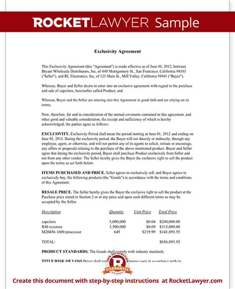 exclusivity letter template exclusivity agreement contract sle rocket lawyer