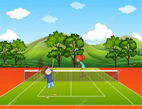 dibujos de niños jugando tenis ni 241 os jugando tenis en el parque vector de stock