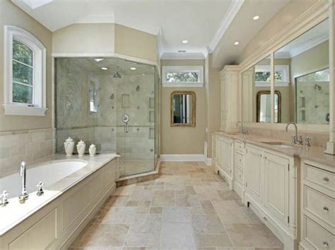 large master bathroom ideas with biege floor tiles and
