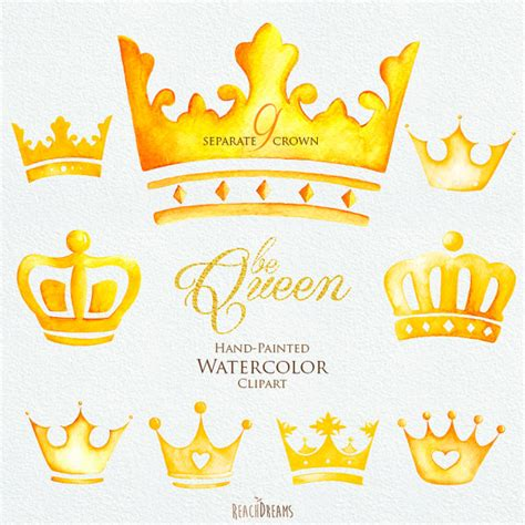 watercolor crown clipart elements queen king от