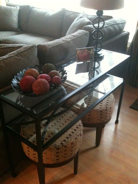 living room sofa table with sitting stools underneath my