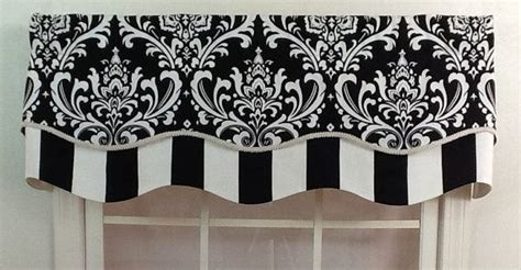 Black And Gray Window Valance Damask Layered Shaped Valance In Black Navy Or Grey By