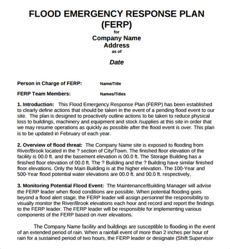 emergency preparedness and response plan template sle emergency response plan template 9 free
