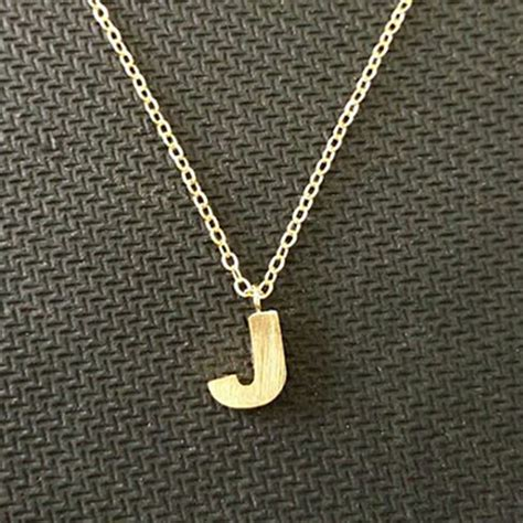 tiny simple jewelry gold silver plated initial j necklace