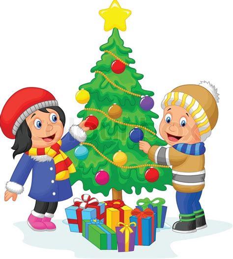 gl 252 ckliche kinder cartoon dekorieren ein weihnachtsbaum