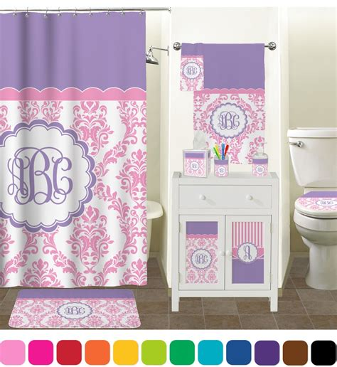 pink bathroom accessories pink white purple damask bathroom accessories set