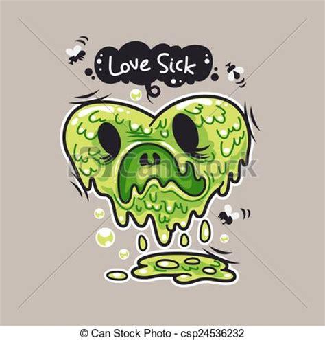 vectors of love sick cartoon love sick monster for humor