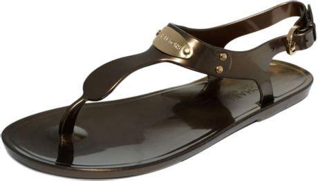 michael kors plate jelly sandals bronze michael kors michael plate jelly sandals in brown bronze