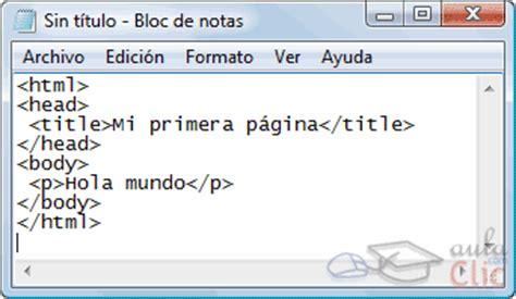 imagenes html bloc de notas curso gratis de p 225 ginas web aulaclic 1 b 225 sico el bloc