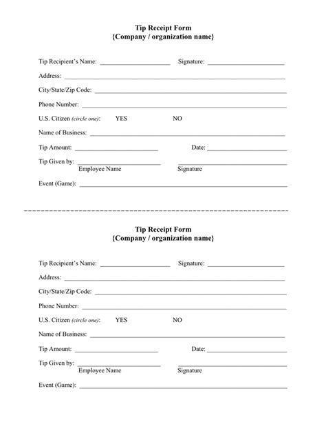 Tip Receipt Template by Tip Receipt Form In Word And Pdf Formats