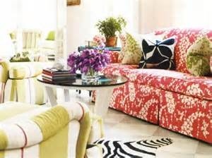 Eclectic living room red sofa white amp black zebra cowhide rug