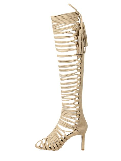 knee high strappy heels beige strappy knee high heeled gladiator sandals choies