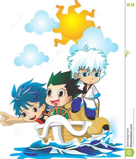 cartoon boat characters 3 chibi anime on boat stock vector illustration of book