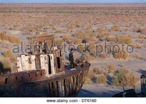 ship graveyard near the former port of moynaq on the aral