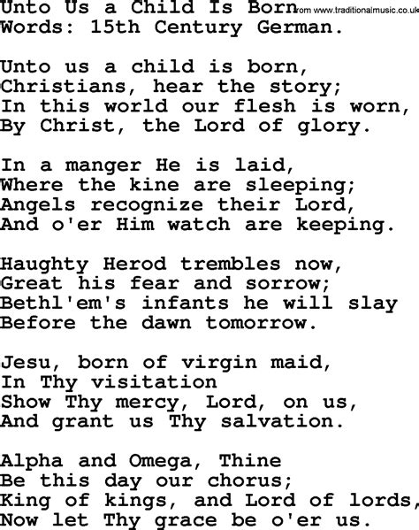 hymns carols and songs title unto us a child