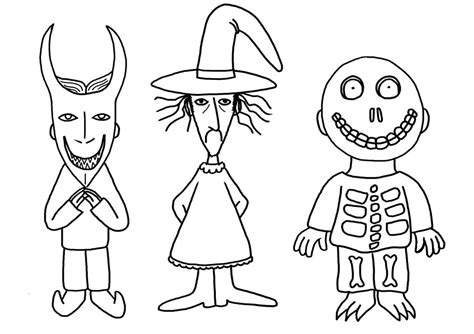 drawings of the nightmare before christmas coloring pages
