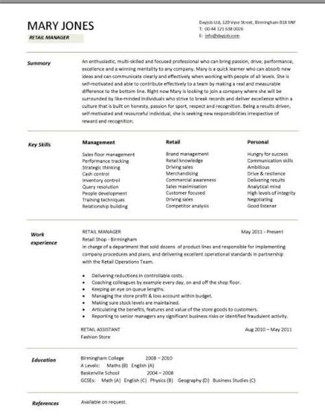 Fashion Showroom Manager Sle Resume by Clothing Sales Manager Resume Images