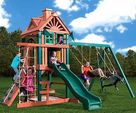 star swing sets new gorilla wood playground set with swings slide rock wall