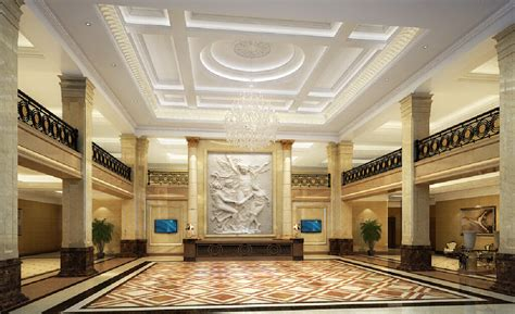interior design hotel lobby and corridors 3d interior design