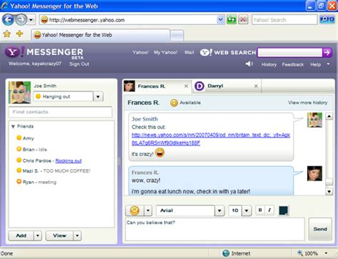 yahoo web browser yahoo launches browser version of messenger techcrunch