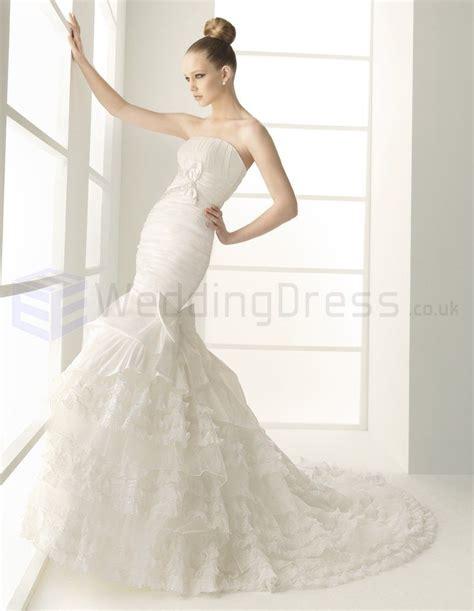 corset strapless mermaid wedding dress with chapel