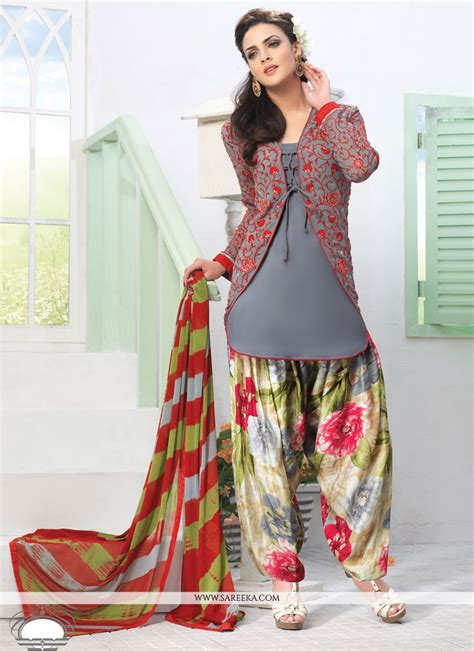 in suite designs grey crepe designer punjabi suit