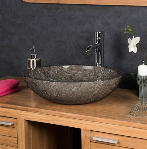 polished stone basin grey sink   cm