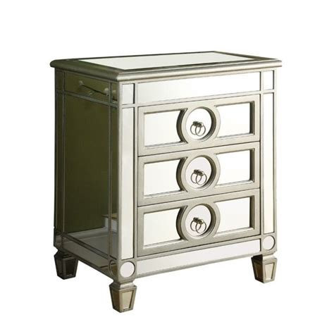 3 drawer mirrored accent table i 3701
